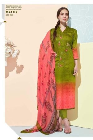 Belliza Designer Studio Presents Bliss Pure Premium jam Cotton Digital Print With fancy heavy Embroidery Suits 230-004 - Copy