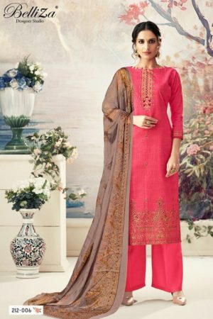 Buy Belliza Designer Studio Presents Sunshine Pure Cotton Prints With Wonderful Elegant & Rich Looking Foil Work Suits 212-006