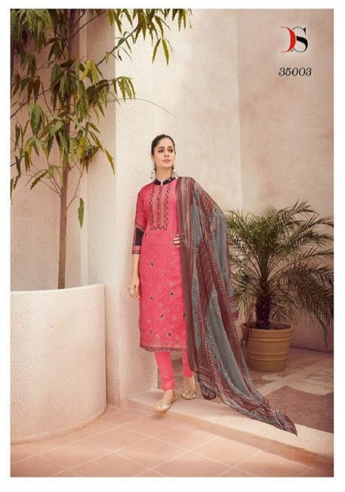 Deepsy Presents Arsh Pure Cotton Light Foil Print Self Embroidery Suits 35003
