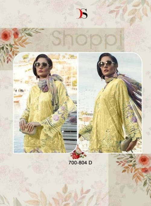 d07dd6f3ee Buy Deepsy Presents Maria B Lawn 19 Gold Pure Cotton Print With Embroidery  & Sleeves Chicken Work Suits 700-804 D