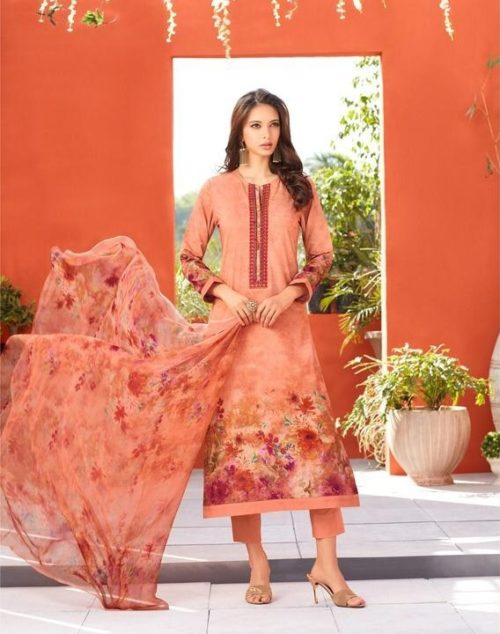 Esta Designs Presents Blossom Printed Cotton Cambric With Embroidery & Swarovski Work Salwaar Suit 111