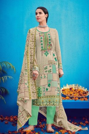 House Of Lawn Presents Raas Pure Jam Satin Print With Designer Embroidery Salwaar Suit 502