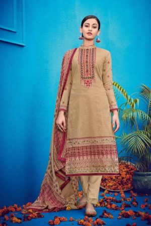 House Of Lawn Presents Raas Pure Jam Satin Print With Designer Embroidery Salwaar Suit 505