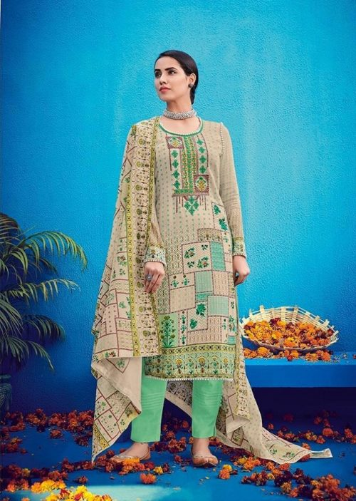 House Of Lawn Presents Raas Pure Jam Satin Print With Designer Embroidery Salwaar Suits 502