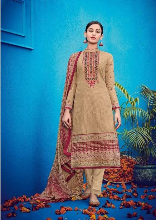 House Of Lawn Presents Raas Pure Jam Satin Print With Designer Embroidery Salwaar Suits 505
