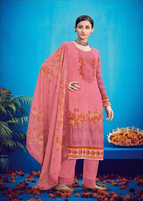 House Of Lawn Presents Raas Pure Jam Satin Print With Designer Embroidery Salwaar Suits 507