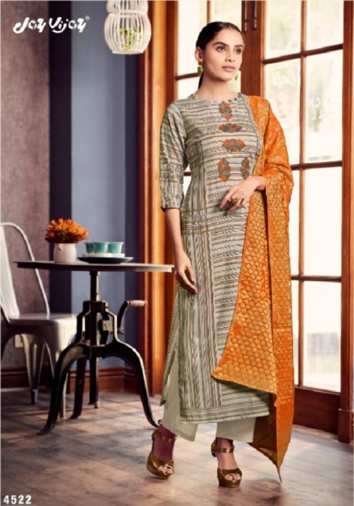 Jay Vijay Presents Lush Pure Cotton Slub Digital Print With Embroidery Work Suits 4522
