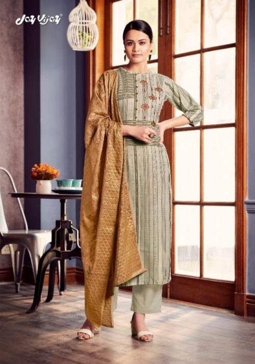Jay Vijay Presents Lush Pure Cotton Slub Digital Print With Embroidery Work Suits 4526