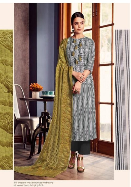 Jay Vijay Presents Lush Pure Cotton Slub Digital Print With Embroidery Work Suits 4527