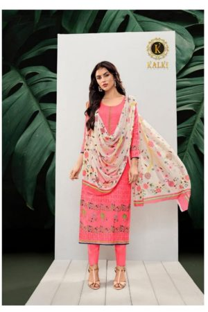 Kalki Presents Vol 1 Pure Azza Lawn Cotton Fabrics With Neck Work, Lace Embrodiery & siroski Diamond Suits AA 1009
