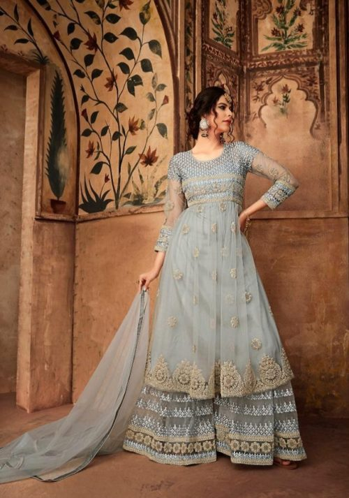 Karma Trendz Presents Eid Special 16002 Series Net Heavy Embroidered And Additional Diamond Work Suits 16007