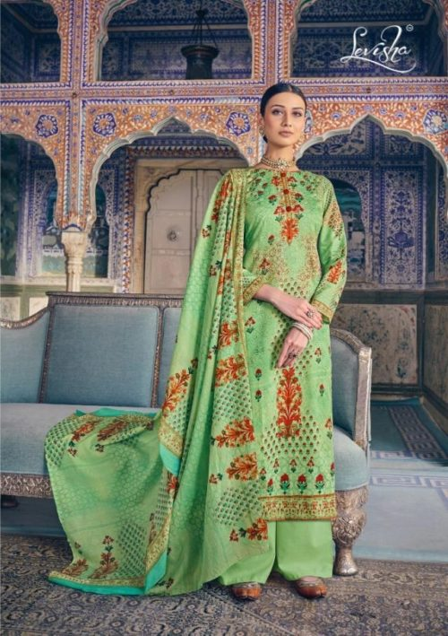 Levisha Presents Suffe Pure Super Cotton Digital Print With Aari Work Salwaar Suit 2413