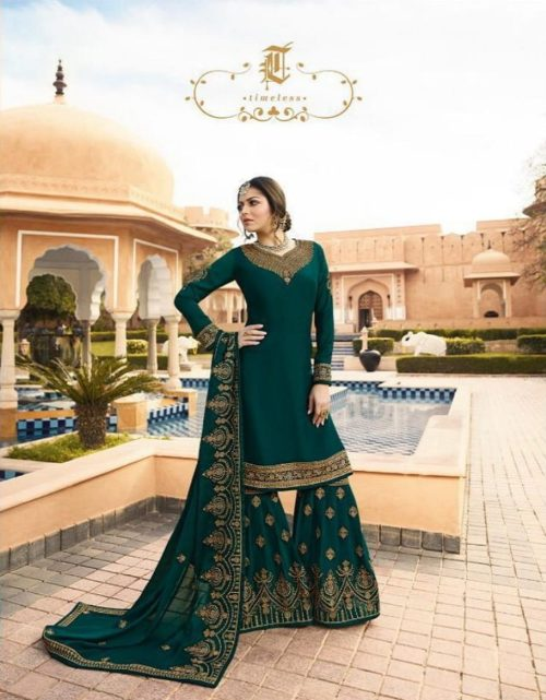 Lt Nitya Presents Vol-136 Satin Georgette With Embroidery Work Suit 3607