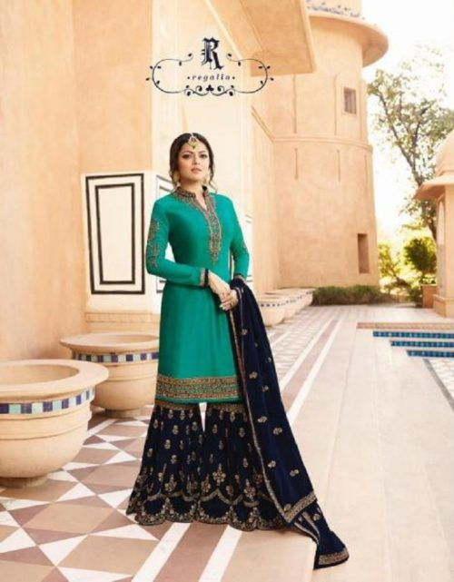 Lt Nitya Presents Vol-136 Satin Georgette With Embroidery Work Suits 3609
