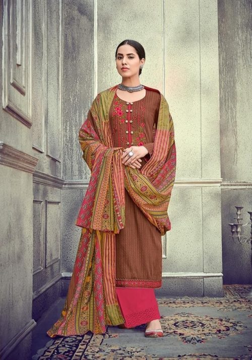 Mumtaz Arts Presents Kapas Pure Original Jam Satin Cotton Negative Print With Kashmiri Neck & Daman Embroidery Suit 702