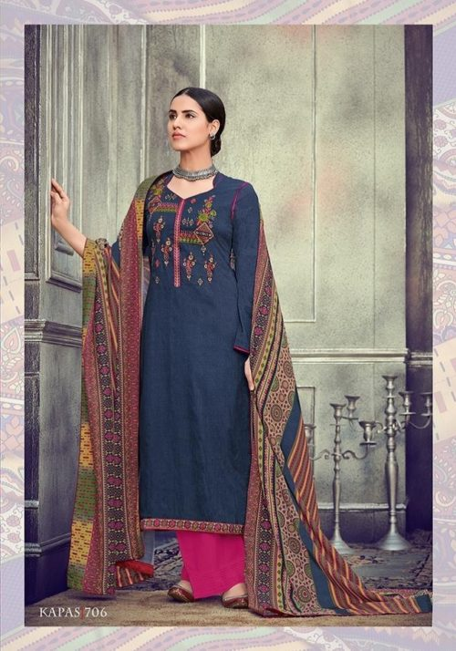 Mumtaz Arts Presents Kapas Pure Original Jam Satin Cotton Negative Print With Kashmiri Neck & Daman Embroidery Suit 706