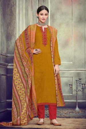 Mumtaz Arts Presents Kapas Pure Original Jam Satin Cotton Negative Print With Kashmiri Neck & Daman Embroidery Suits 708