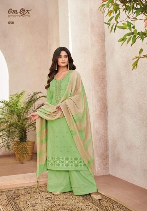 Omtex presents Meadow Fine Linen Foil Print With Embroidery Work Salwaar Suits 658