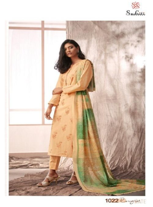Sahiba Sudriti Presents Rougmate Camric with Foil Printed Suits 1022
