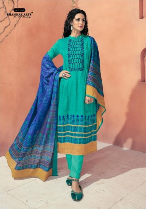Shahnaz Arts presents Avnoor Pure Cotton Print With Embroidery Salwaar Suits 7008