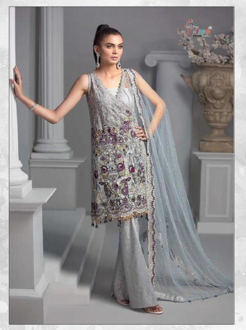 Shree Fabs Presents Crimson Premium Collection Net With Heavy Sequence Work With Handwork Suit 8143
