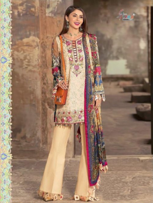 Shree Fabs Presents Noor By Sadiya Asad Pure Cotton Print & Dyed With Heavy Siffly & Lazer & Embroidery Work Suit 1258