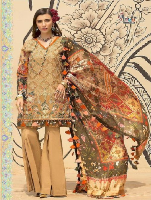 Shree Fabs Presents Noor By Sadiya Asad Pure Cotton Print & Dyed With Heavy Siffly & Lazer & Embroidery Work Suit 1260