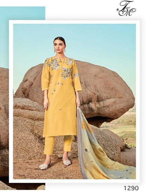 T&M Presents Bunch of Flowers Chanderi Digital Print With Hand Work Suits 1290