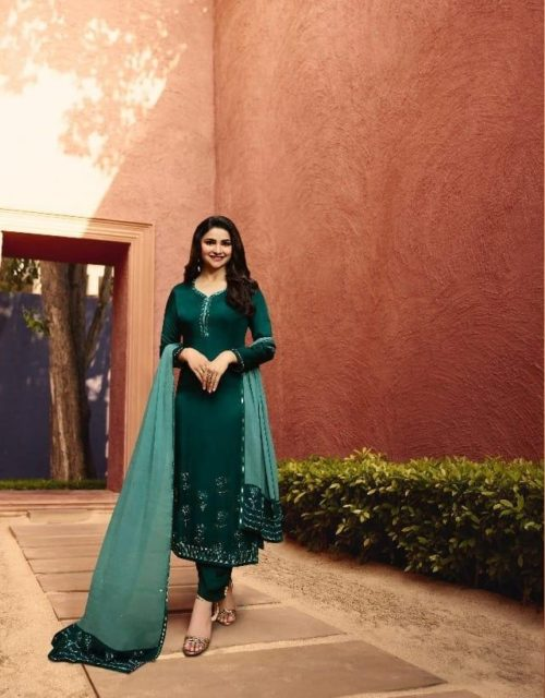 Vinay Fashion Presents Evershine Vol 2 Satin Georgette With Embroidery Work Suits 10051