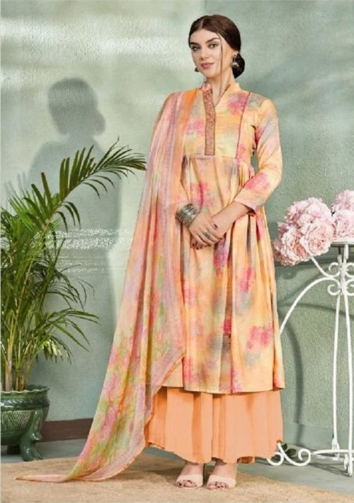 Belliza Designer Studio Presents Pearls Pure Premium Cotton Digital Print With Elegant Embroidery Suit 263-002