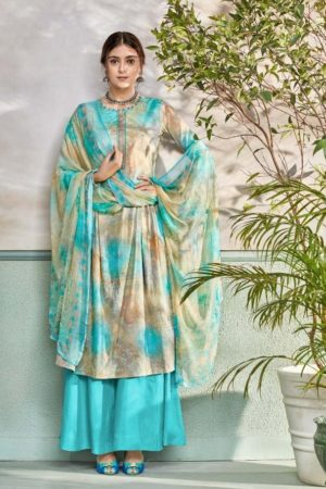 Belliza Designer Studio Presents Pearls Pure Premium Cotton Digital Print With Elegant Embroidery Suit 263-008