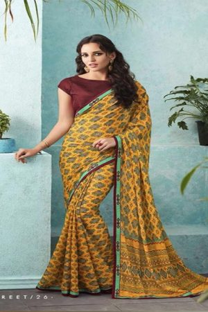 Buy Sahiba Preet Heavy Georgette Printed Saree With Fancy Lace Border 26