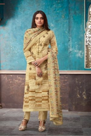 Esta Design Presents Adorable 2 Digital Printed Cotton Lawn With Embroidery And Swarovski Work Suits 108