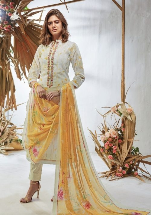Esta Design Presents Gesture Digital Printed Cotton Lawn With Embroidery & Beads Work Salwaar Suits 08