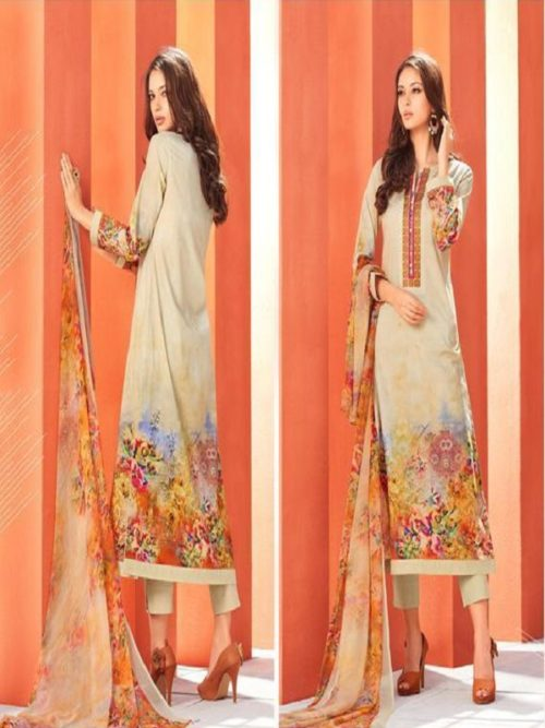 Esta Designs Presents Blossom Printed Cotton Cambric With Embroidery & Swarovski Work Salwaar Suits 112