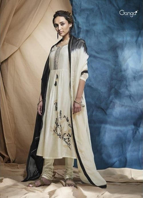 Ganga Essence Pure Kora Silk With Placement Embroidery & Hand Work With Extra Sleeves & Embroidery Suit 7351