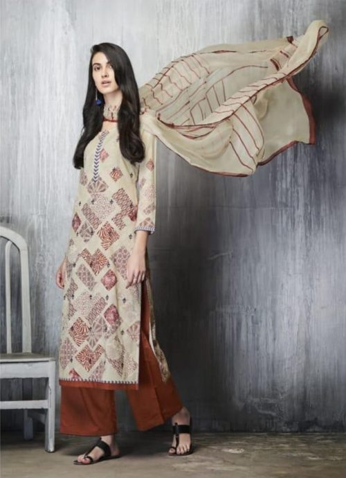 Ganga Presents Imprints Cotton Lawn Printed With Embroidery Work On Front And Print Border On Neck & Daman Suit 7602