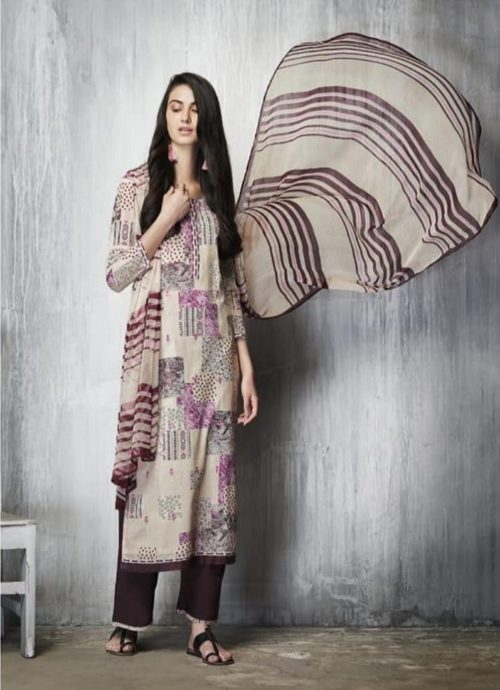 Ganga Presents Imprints Cotton Lawn Printed With Embroidery Work On Front And Print Border On Neck & Daman Suit 7603