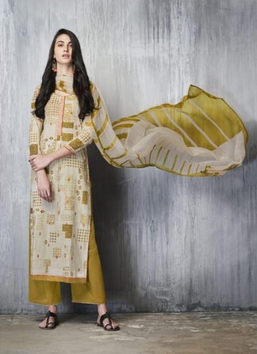 Ganga Presents Imprints Cotton Lawn Printed With Embroidery Work On Front And Print Border On Neck & Daman Suit 7607