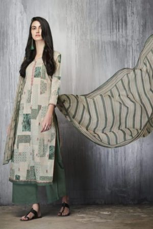 Ganga Presents Imprints Cotton Lawn Printed With Embroidery Work On Front And Print Border On Neck & Daman Suit 7608