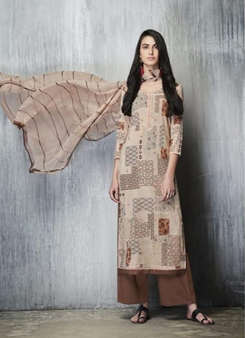Ganga Presents Imprints Cotton Lawn Printed With Embroidery Work On Front And Print Border On Neck & Daman Suits 7609