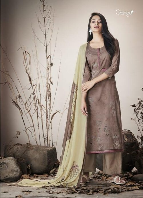 Ganga Presents Serene Pure Cotton Lawn Printed With Extra Sleeves And Embroidery On Neck & Handwork On Printed Figure Suit 7519