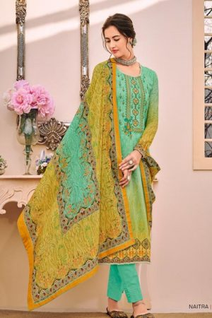 House Of Lawn Naitra Pure Jam Satin Print With Designer Embroidery Suit 108