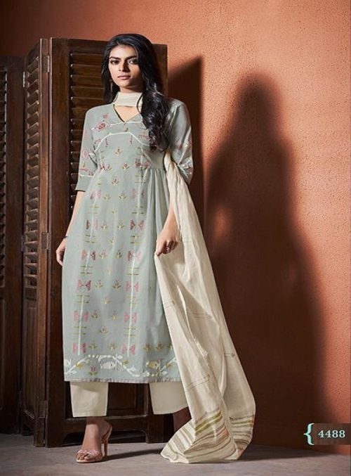 Jay Vijay Presents Bliss Pure Cotton Print With Hand Work Salwaar Suits 4488