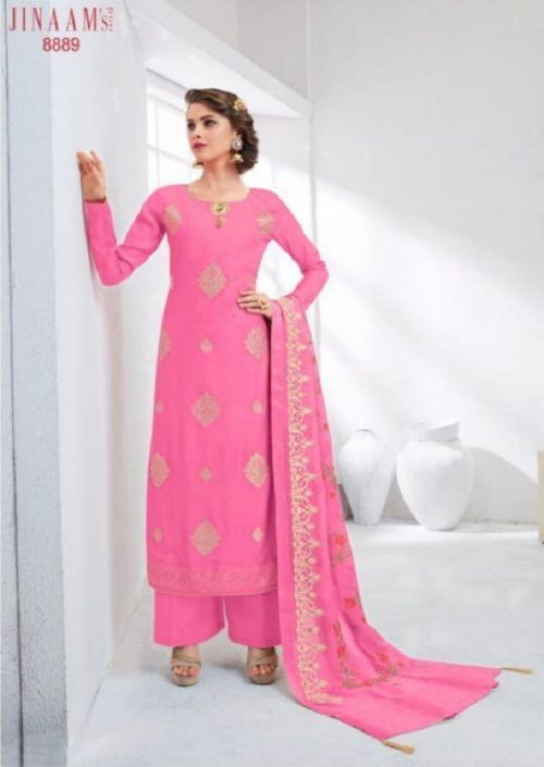 Jinaam Presents Eidi Collection Cotton Silk Embroidered With Hand Work Touch Salwaar Suits 8889