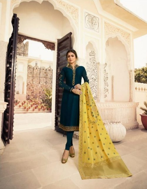 LT Nitya Presents Vol 140 Satin Georgette Georgette With Embroidery And Work Suit 4006