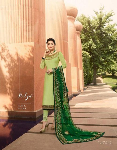 LT Nitya Presents Vol 141 Satin Georgette With Embroidery And Work Salwaar Suit 4109
