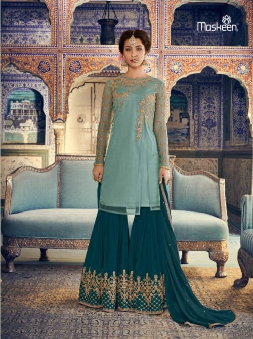 Maisha Presents Riwaayat Mother Collection Rangoli Georgette Net (Semi Stitched) With Embroidery And Work Suit 6902