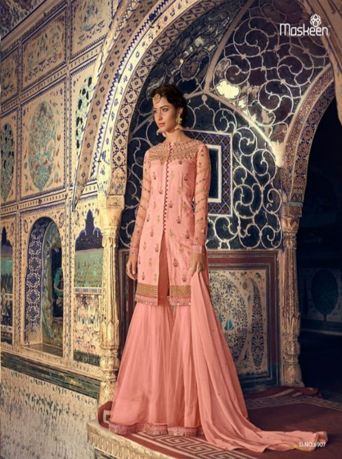 Maisha Presents Riwaayat Mother Collection Rangoli Georgette Net (Semi Stitched) With Embroidery And Work Suit 6907