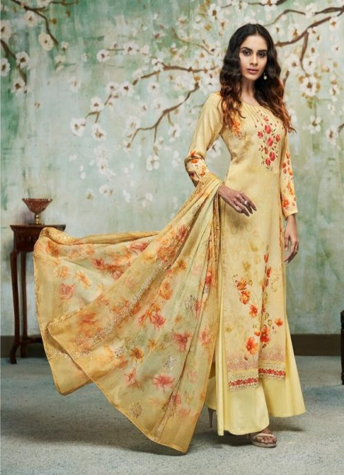 Relssa Fabrics Presents Kiran Superior Cotton Satin Digital Print With Embroidery Salwaar Suit 6102